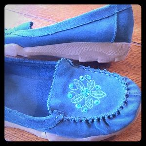 Turquoise Suede Beaded Boho Moccasins 8M Adorable!